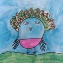 """9 ans  """"Oiseau magique"""" aquarelle 20x25 cm, année 2020"""